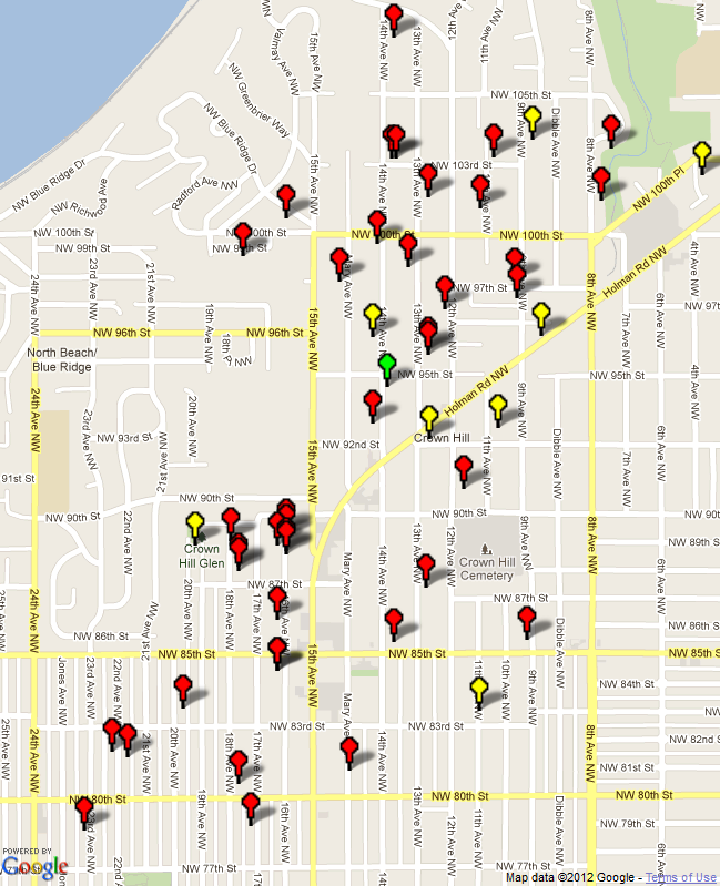 Crown Hill Neighbors Garage Sale Map