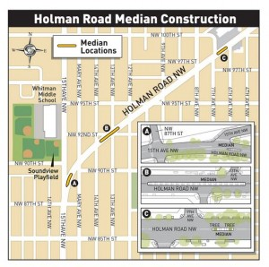 Shorten crossing distance with 2-step pedestrian refuge in Holman.